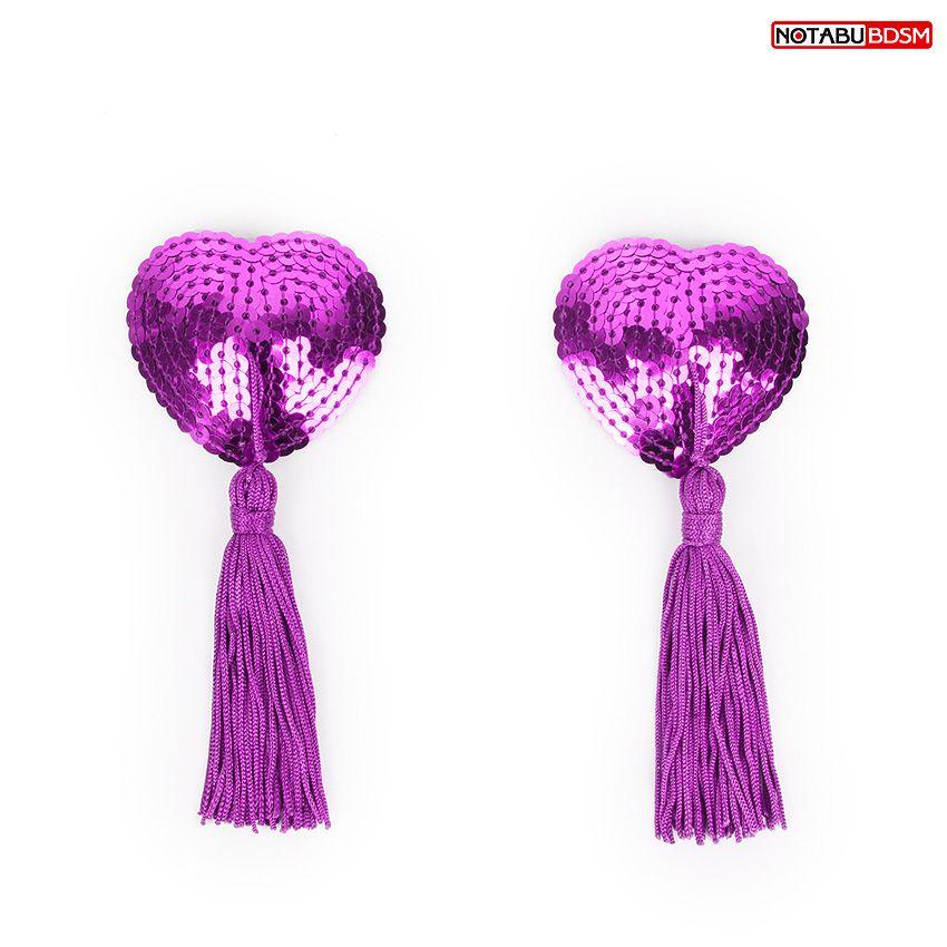 Фото Фиолетовые текстильные пестисы в форме сердечек с кисточками