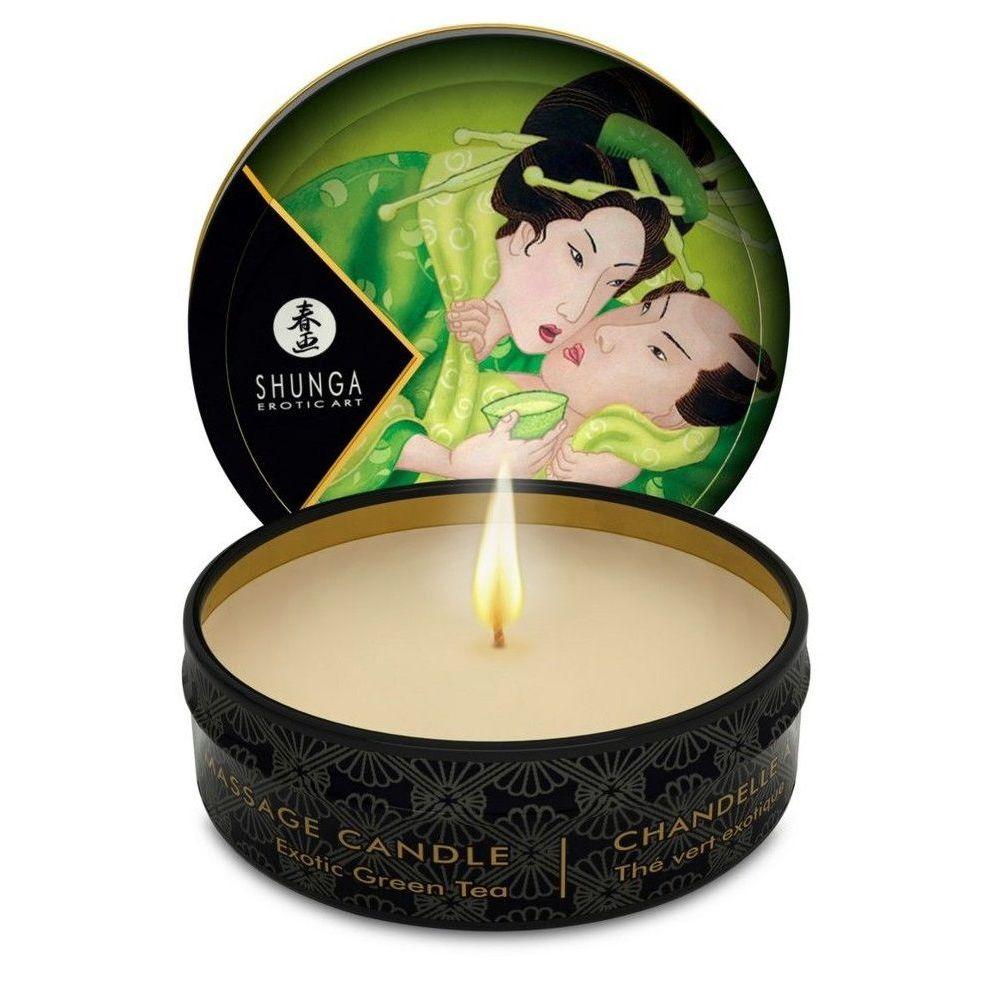 Фото Массажная свеча Exotic Green Tea с ароматом зелёного чая - 30 мл.