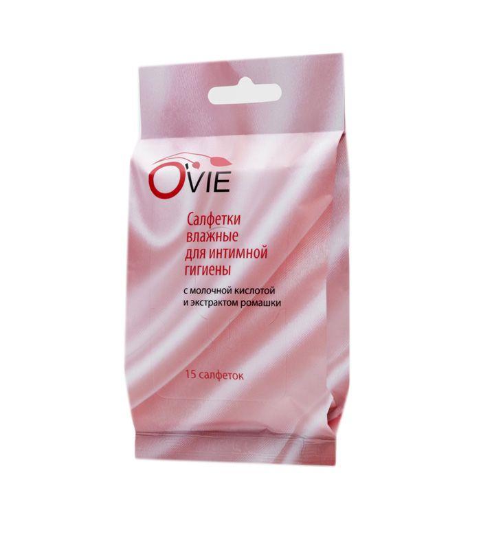 Фото Влажные салфетки с молочной кислотой Ovie для интимной гигиены - 15 шт.