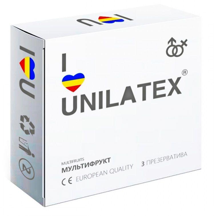 Фото Разноцветные ароматизированные презервативы Unilatex Multifruits - 3 шт.