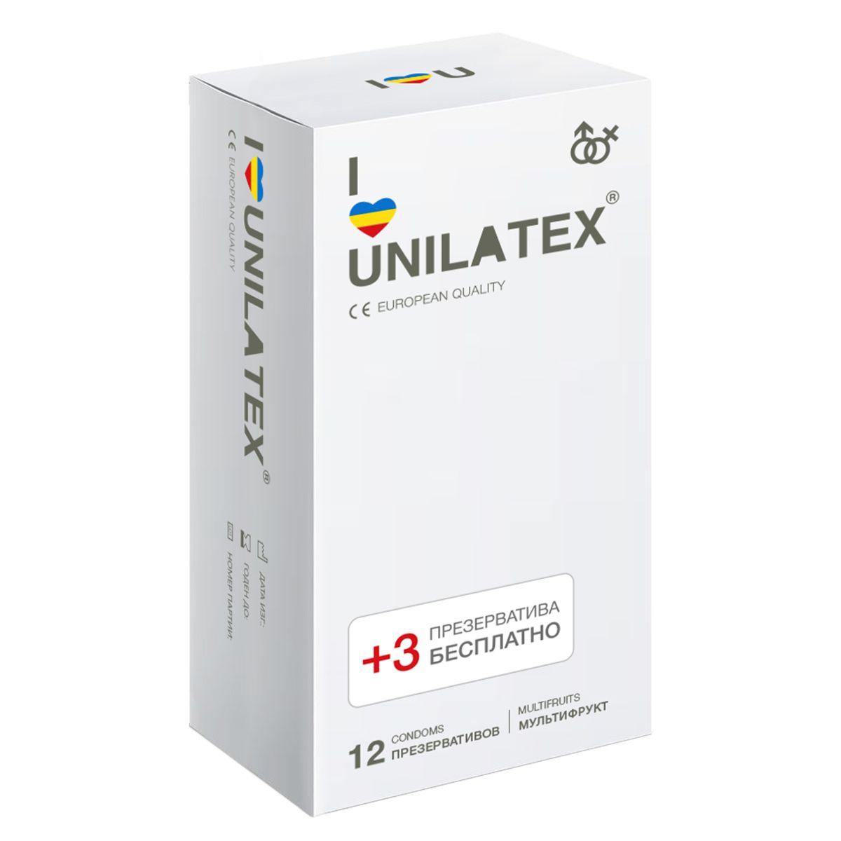 Фото Разноцветные ароматизированные презервативы Unilatex Multifruit  - 12 шт. + 3 шт. в подарок