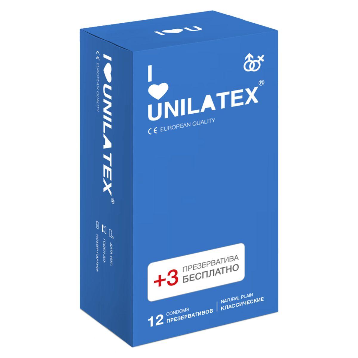 Фото Классические презервативы Unilatex Natural Plain - 12 шт. + 3 шт. в подарок
