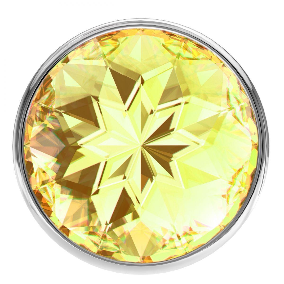 Дополнительное фото 2 товара Большая серебристая анальная пробка Diamond Yellow Sparkle Large с жёлтым кристаллом - 8 см.