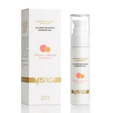 Универсальный массажный гель-смазка Allover Delicious Massage Gel с ароматом персика и аброкоса - 50 мл.