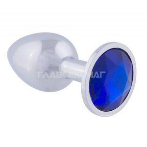 Серебристая анальная пробка с синим кристаллом - 7 см.