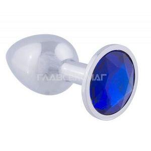 Серебристая анальная пробка с синим кристаллом - 8,2 см.