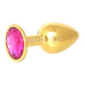 Золотистая анальная пробка с малиновым кристаллом - 7 см.