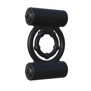 Черное силиконовое виброкольцо Extreme Double Trouble