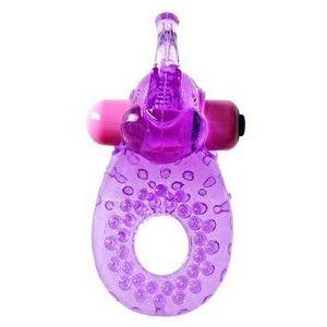 Фиолетовое эрекционное кольцо с вибрацией и коготком для стимуляции клитора
