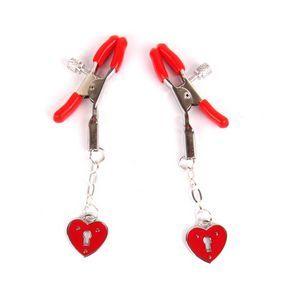 Красные металлические зажимы на соски с декором в виде сердечек на цепочке