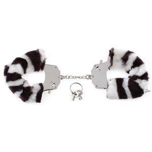 Металлические наручники Original Furry Cuffs с мехом под зебру