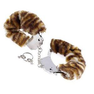 Металлические наручники Original Furry Cuffs с мехом под тигра