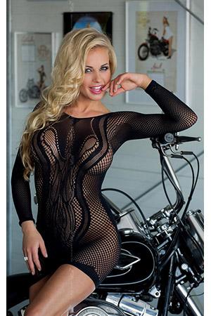 Сексуальное платье-сетка с ажурным узором