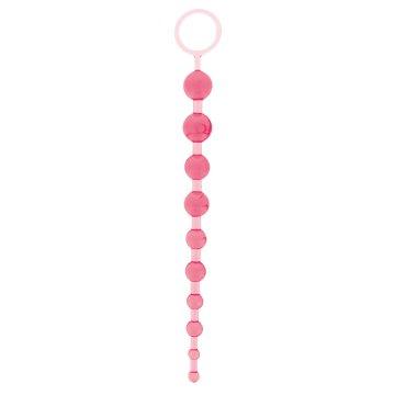 Розовая анальная цепочка - 26,7 см.