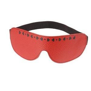 Красная кожаная маска с сердечками и велюровой подкладкой