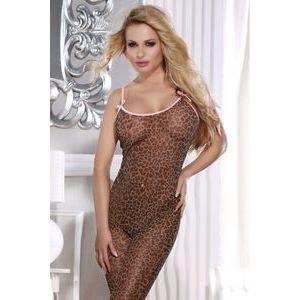 Леопардовый комбинезон-сетка на тонких розовых бретелях