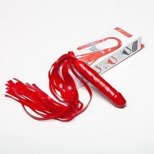 Красная резиновая плеть с ручкой-фаллосом - 55 см.