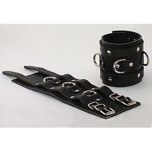 Чёрные не подшитые широкие наручник с 3 D-кольцами