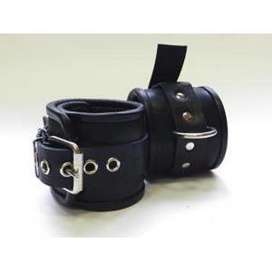 Чёрные не подшитые наножники с пряжкой и сварным кольцом