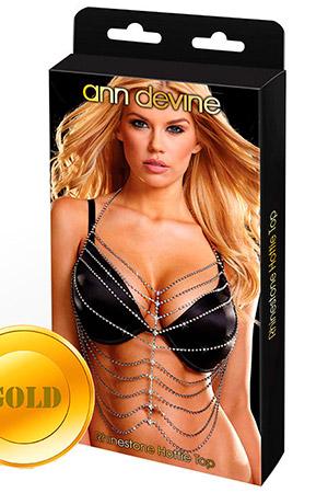 Золотистый топ из кристаллов Rhinestone Hottie Top
