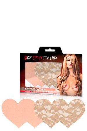 Набор из телесных кружевных и сатиновых пэстисов-сердец Nude Ambition
