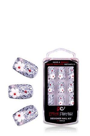 Кружевные типсы для ногтей из акрила с аппликацией и стразами Picanto