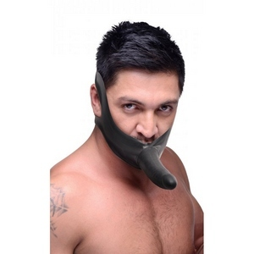 Черный кляп-страпон Masters Mini Face Fuck Strap-On - 14 см.