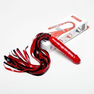 Чёрно-красная латексная плеть  мини-ракета  с ручкой в виде фаллоса - 55 см.