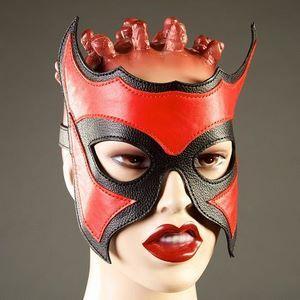 Кожаная маска-очки с красной вставкой