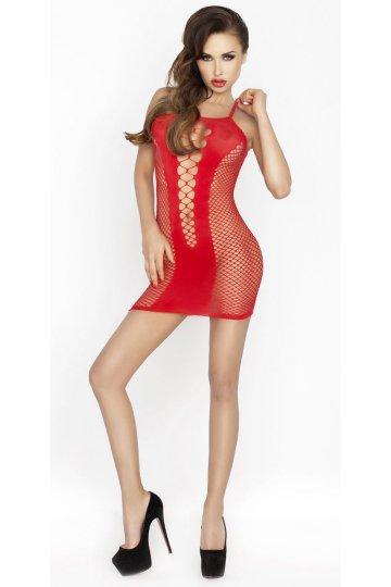 Платье-сетка с V-образной плотной вставкой