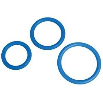 Набор из 3 синих эрекционных колец MENZSTUFF COMPLETE SET OF COCKRINGS
