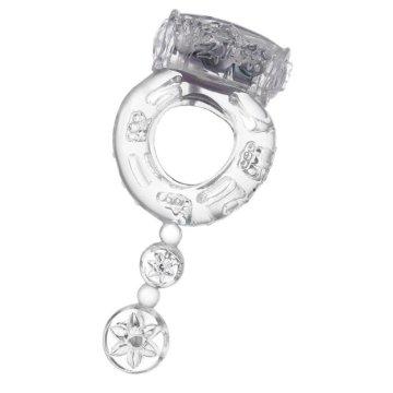 Прозрачное эрекционное кольцо с вибратором и хвостом