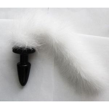 Анальная пробка с длинным белым пушистым хвостом - 11 см.
