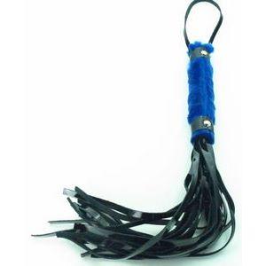 Плеть из лака с синим мехом BDSM Light - 43 см.