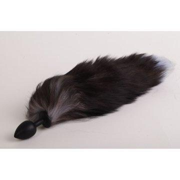 Силиконовая анальная пробка с длинным черным хвостом  Серебристая лиса