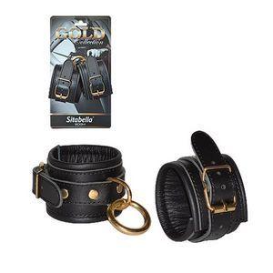 Кожаные наручники с круглым карабином Sitabella Gold Collection