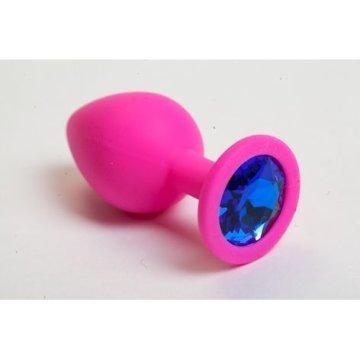 Розовая анальная пробка с синим кристаллом - 9,5 см.