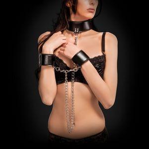 Чёрный двусторонний ошейник с наручниками Reversible Collar and Wrist Cuffs