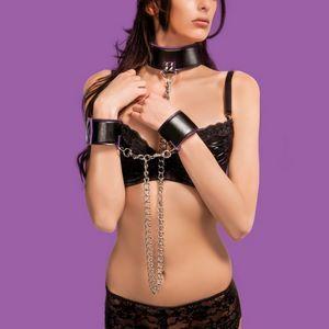 Чёрно-фиолетовый двусторонний ошейник с наручниками Reversible Collar and Wrist Cuffs