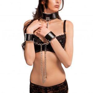 Чёрно-белый двусторонний ошейник с наручниками Reversible Collar and Wrist Cuffs