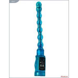 Голубой гнущийся анальный вибратор - 27 см.