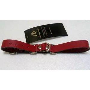Красные ременные наручники с полукольцом