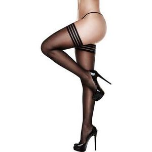 Чулки с полосками на резинке BANDED SILICONE STAY-UP THIGH HIGHS
