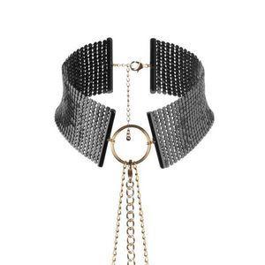 Чёрный ошейник с цепочками Desir Metallique Collar