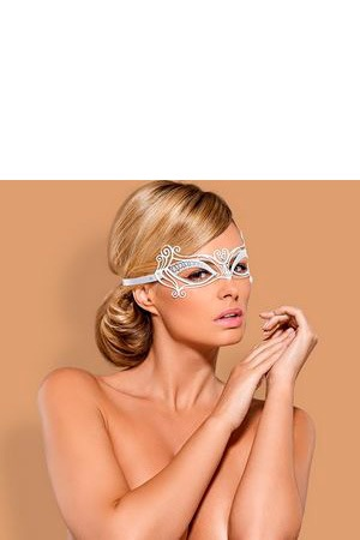 Белая металлическая маска на завязках