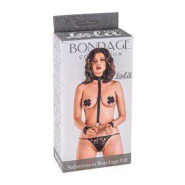 Ошейник с длинной лентой и отстегивающимися наручниками Submission Bondage Kit Plus size