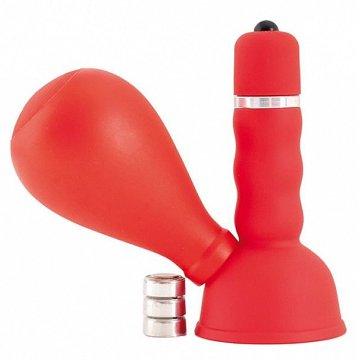 Красный вибратор с грушей на сосок