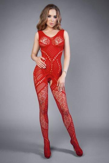 Красный комбинезон со сложным рисунком и интимным доступом