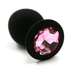 Чёрная силиконовая анальная пробка с светло-розовым кристаллом - 7 см.