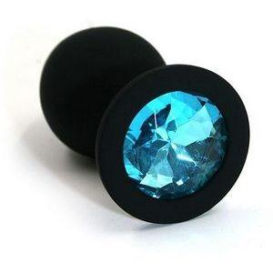 Чёрная силиконовая анальная пробка с голубым кристаллом - 7 см.